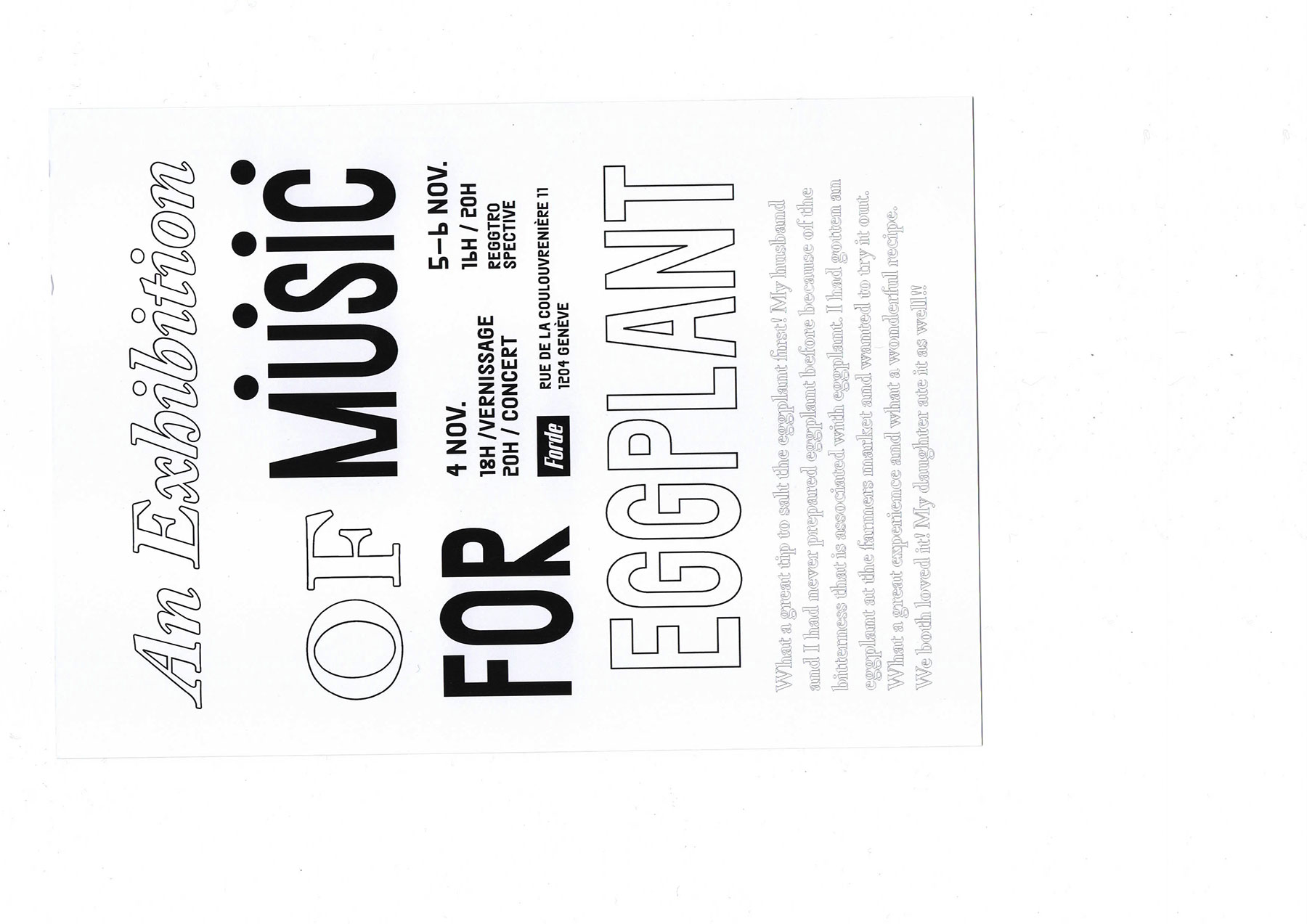 forde - flyer - An Exhibition of (Music for) Eggplant